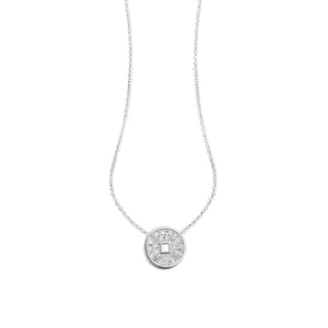 Lucky Coin Necklace in 18K White Gold