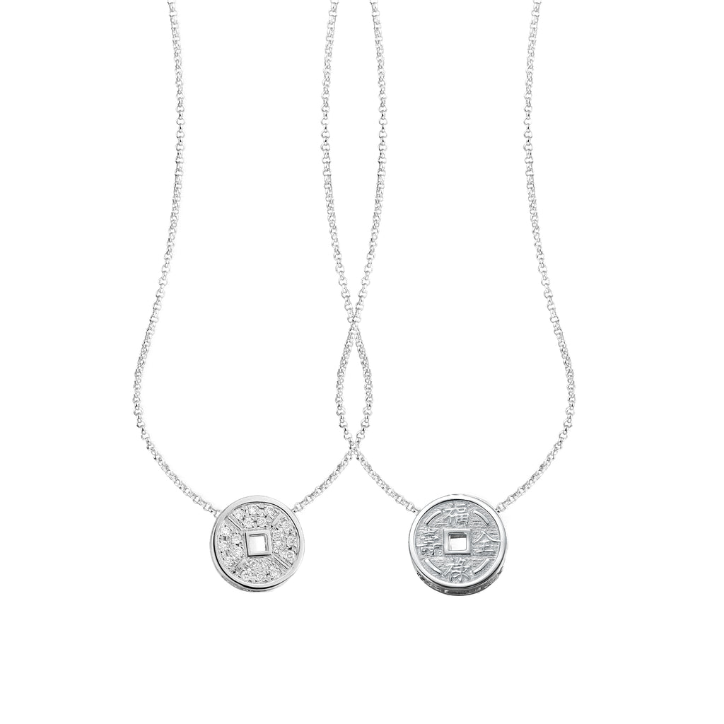 YOUNG BY DILYS' Lucky Coin 福緑壽全 Reversible Necklace in 18K White Gold