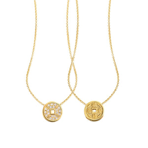 YOUNG BY DILYS' Lucky Coin 福緑壽全 Reversible Necklace in 18K Yellow Gold