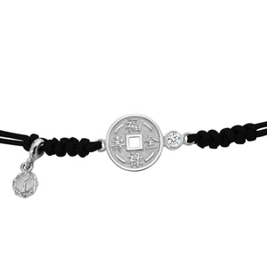 YOUNG BY DILYS' Lucky Coin 福祿壽全 Thread Bracelet in 18K White Gold