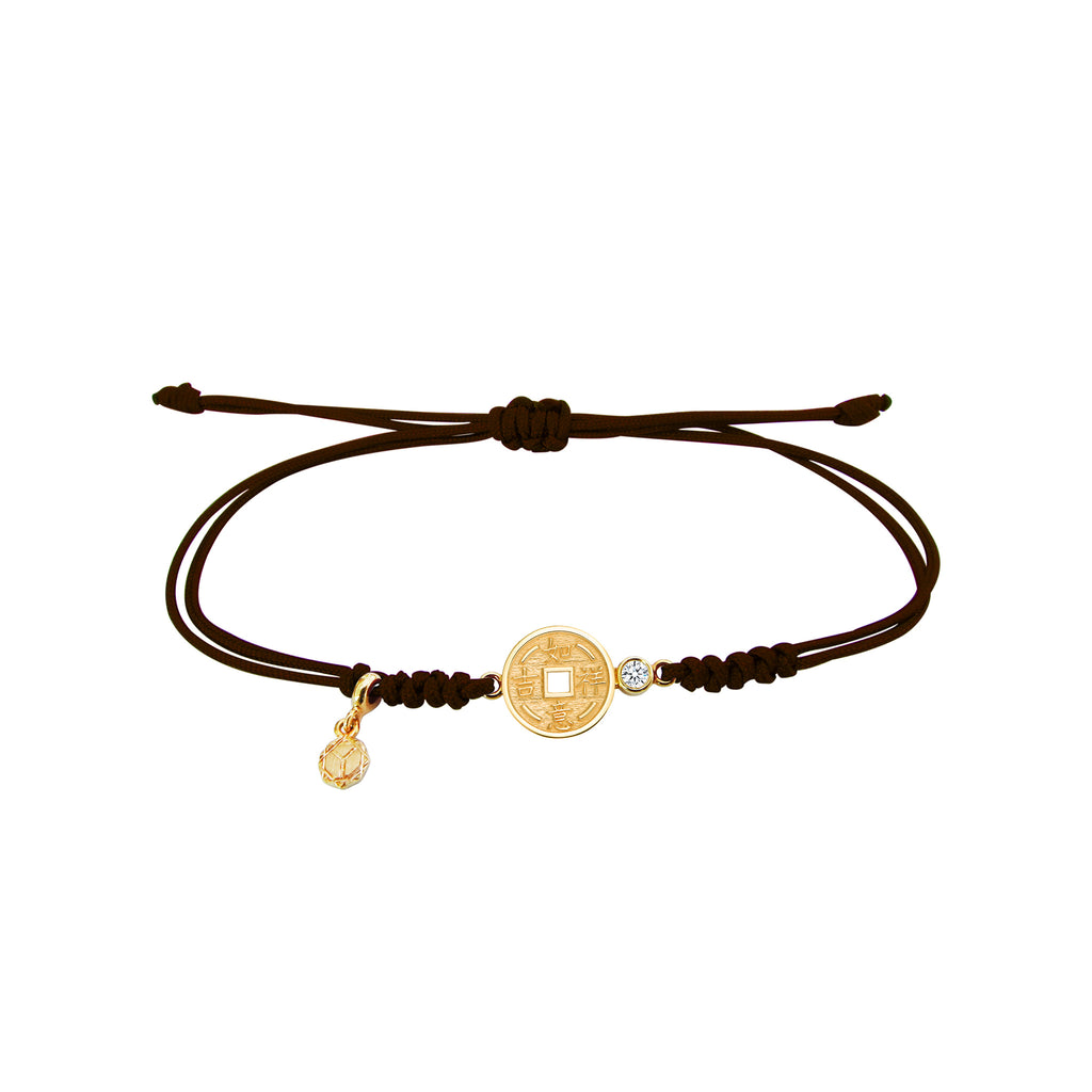 YOUNG BY DILYS' Lucky Coin 如意吉祥 Thread Bracelet in 18K Yellow Gold