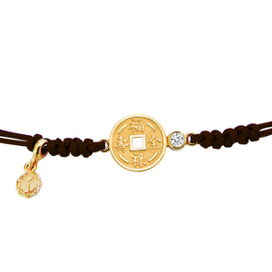 YOUNG BY DILYS' Lucky Coin 福祿壽全 Thread Bracelet in 18K Yellow Gold