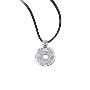 YOUNG BY DILYS' Lucky Coin 福祿壽全 Thread Necklace in 18K White Gold