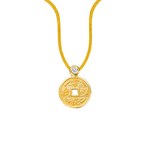 YOUNG BY DILYS' Lucky Coin 常在我心 Thread Necklace in 18K Yellow Gold