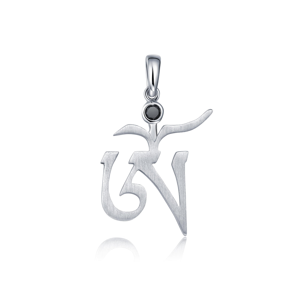 YOUNG BY DILYS' OM Black Diamond Large Pendant in 18K White Gold