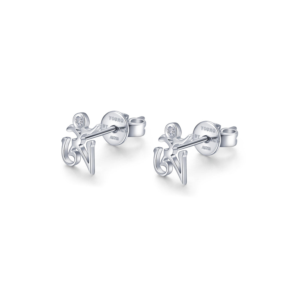 YOUNG BY DILYS' OM Ear Studs in 18K White Gold