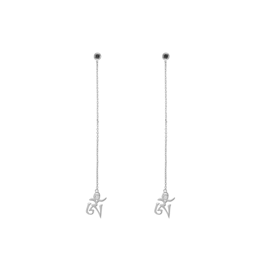 YOUNG BY DILYS' White Gold OM Earrings in Black and White Diamond