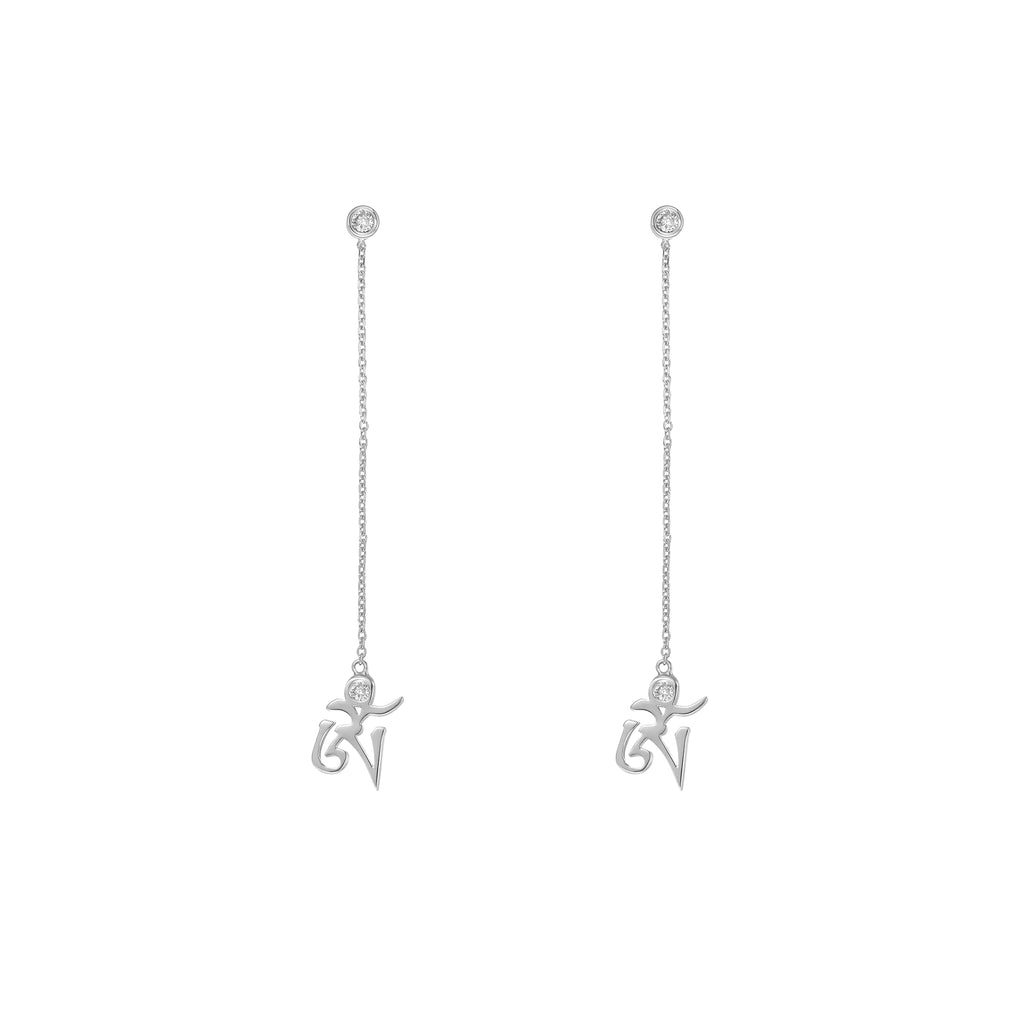 YOUNG BY DILYS' White Gold OM Earrings in White Diamond