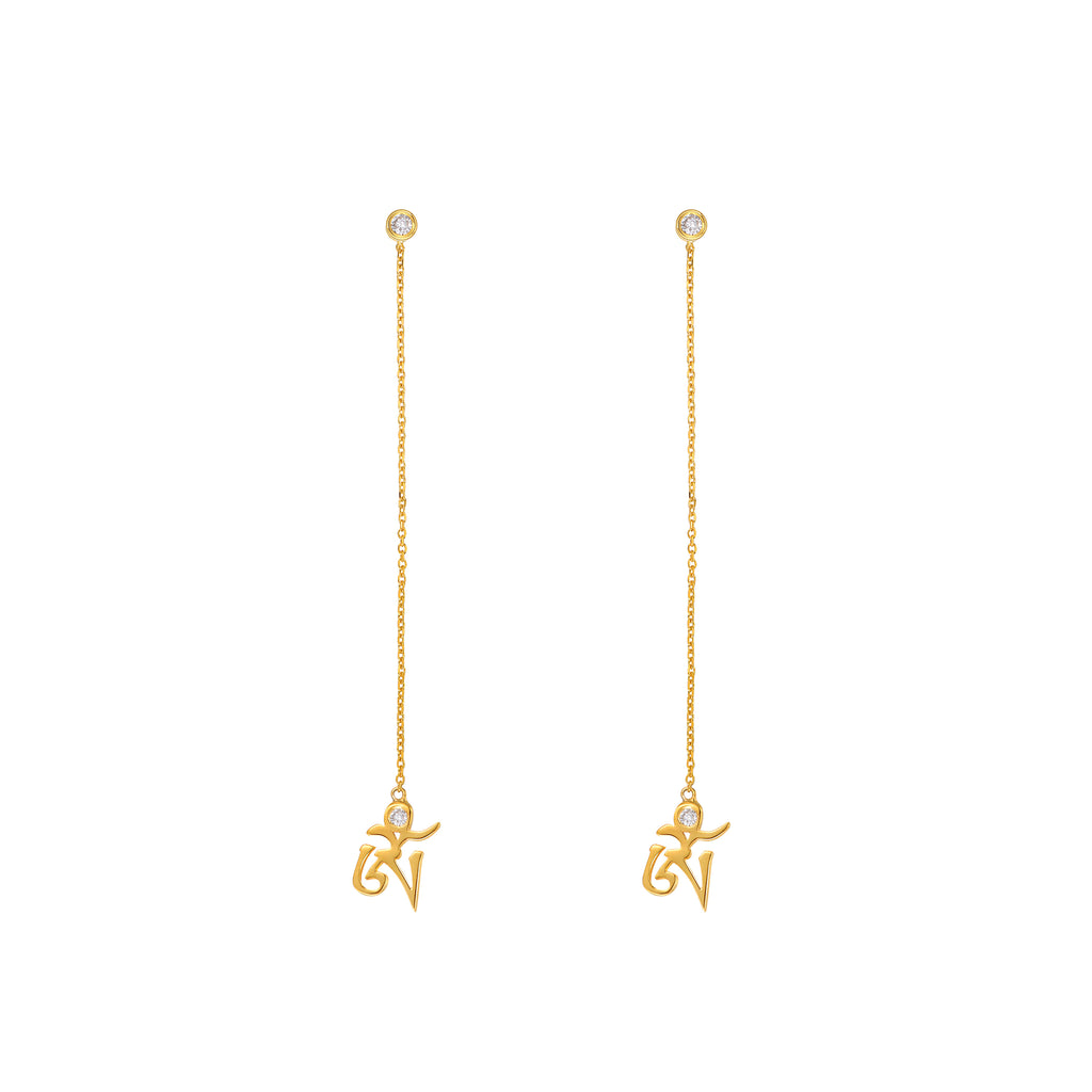 YOUNG BY DILYS' Yellow Gold Om Earrings in White Diamond