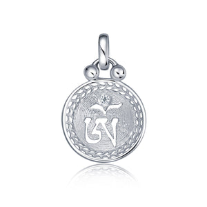 YOUNG BY DILYS' OM Mini Concave Pendant in 18K White Gold