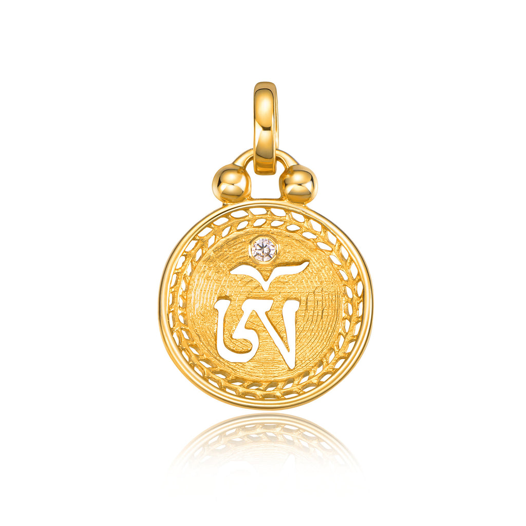 YOUNG BY DILYS' OM Mini Concave Pendant in 18K Yellow Gold