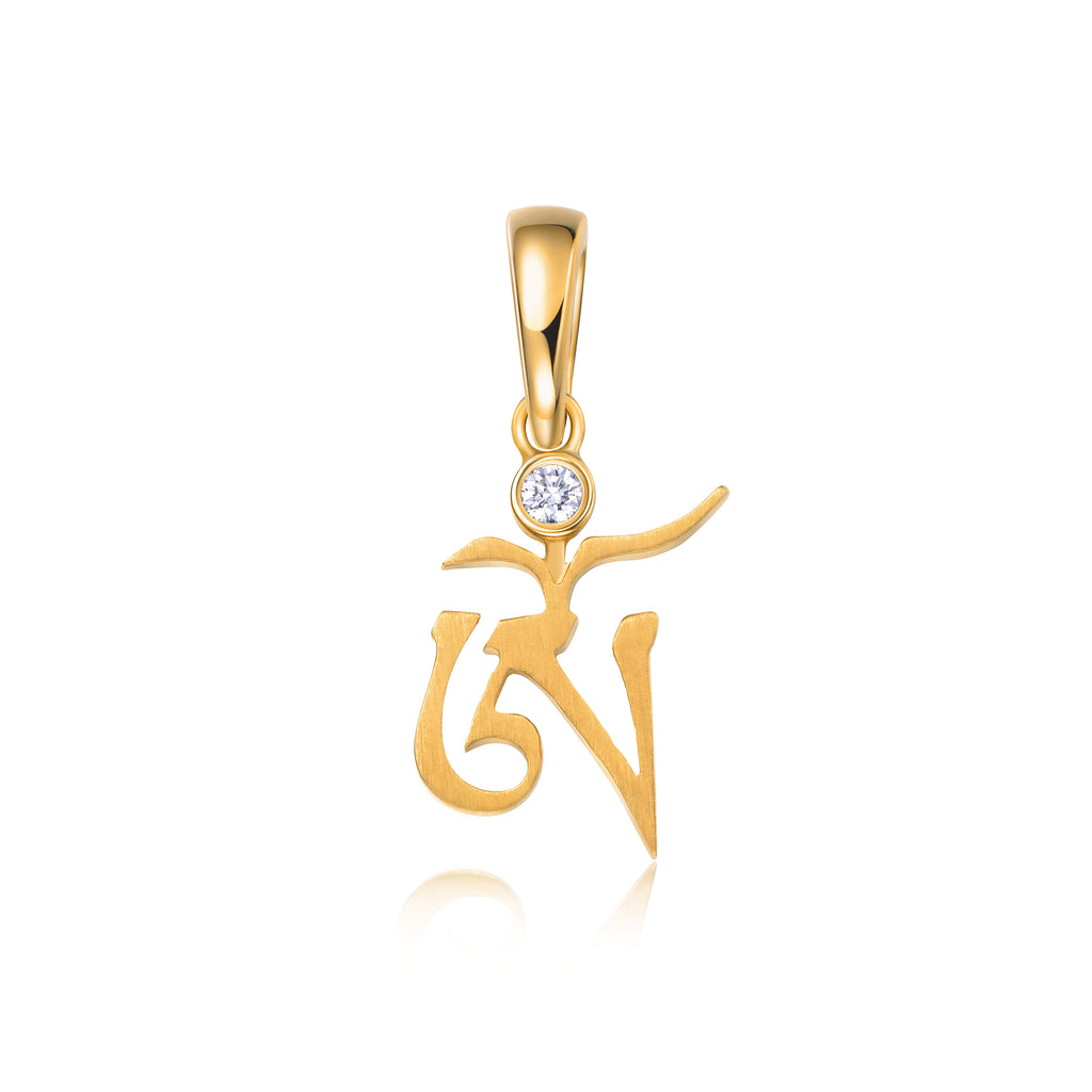 YOUNG BY DILYS' OM White Diamond Small Pendant in 18K Yellow Gold