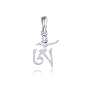 YOUNG BY DILYS' OM White Diamond Pendant in 18K White Gold