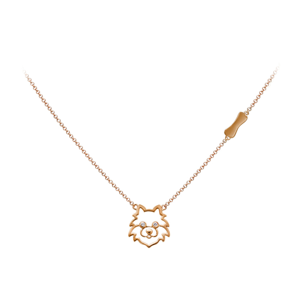 YOUNG BY DILYS' Precious Pomeranian Necklace in 18K RG