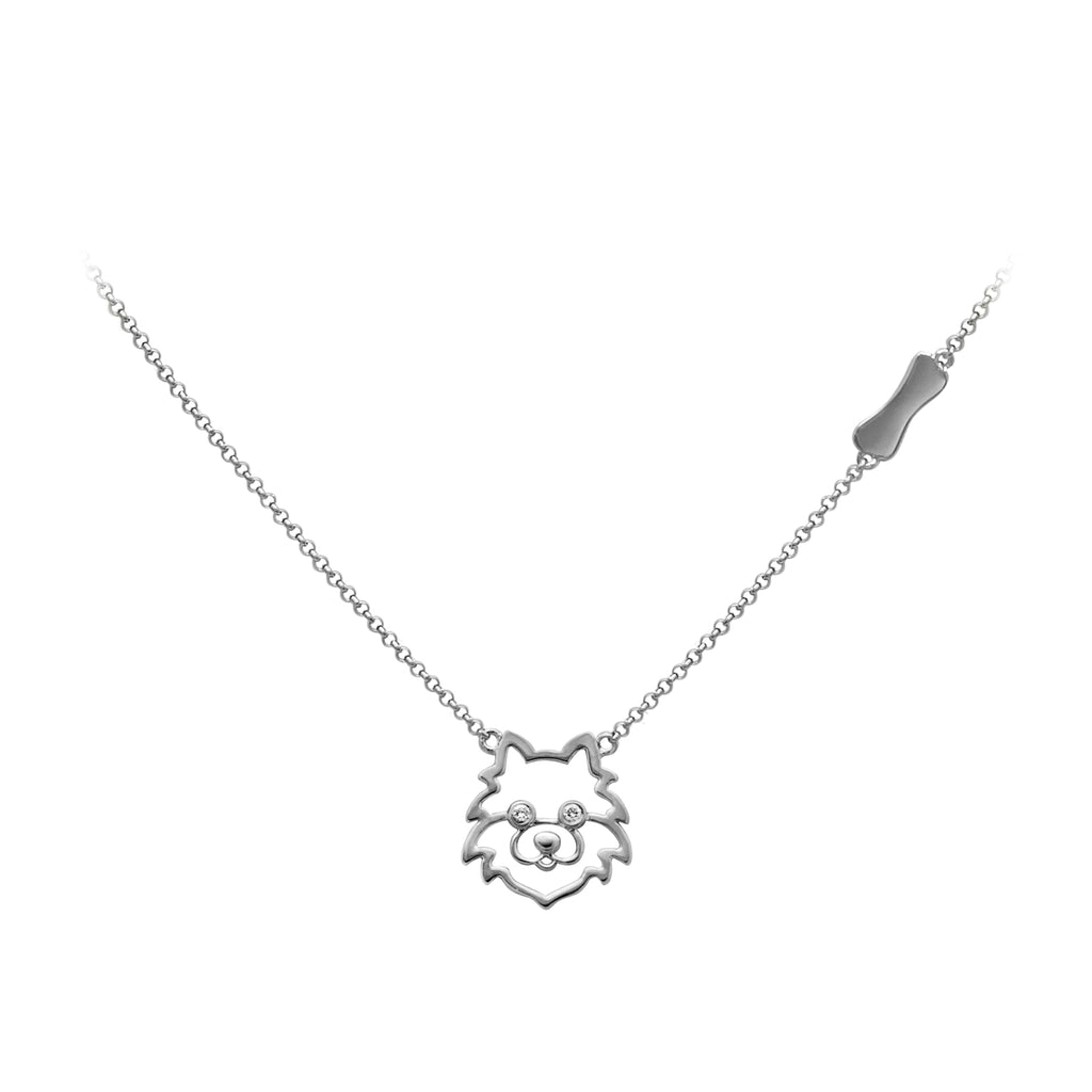 YOUNG BY DILYS' Precious Pomeranian Necklace in 18K White Gold
