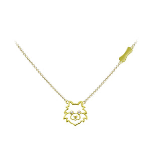 YOUNG BY DILYS' Precious Pomeranian Necklace in 18K Yellow Gold