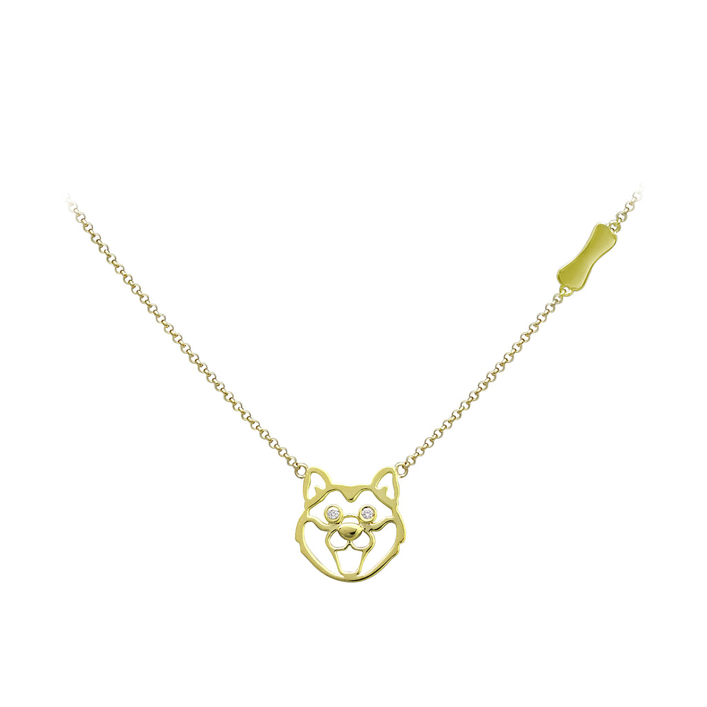 YOUNG BY DILYS' Precious Shiba Inu Necklace in 18K Yellow Gold