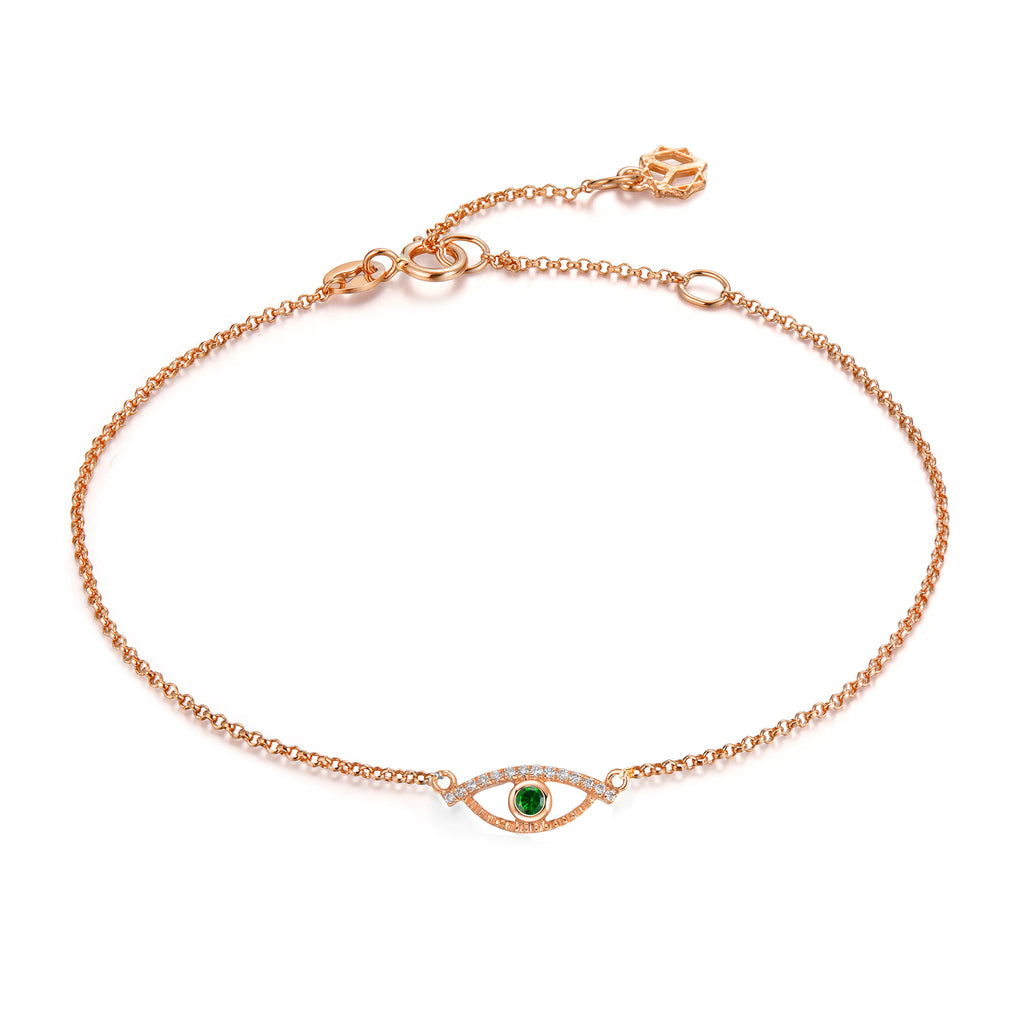 YOUNG BY DILYS' Celestial Eye Green Garnet Chain Bracelet with Diamond Trim in 18K Rose Gold
