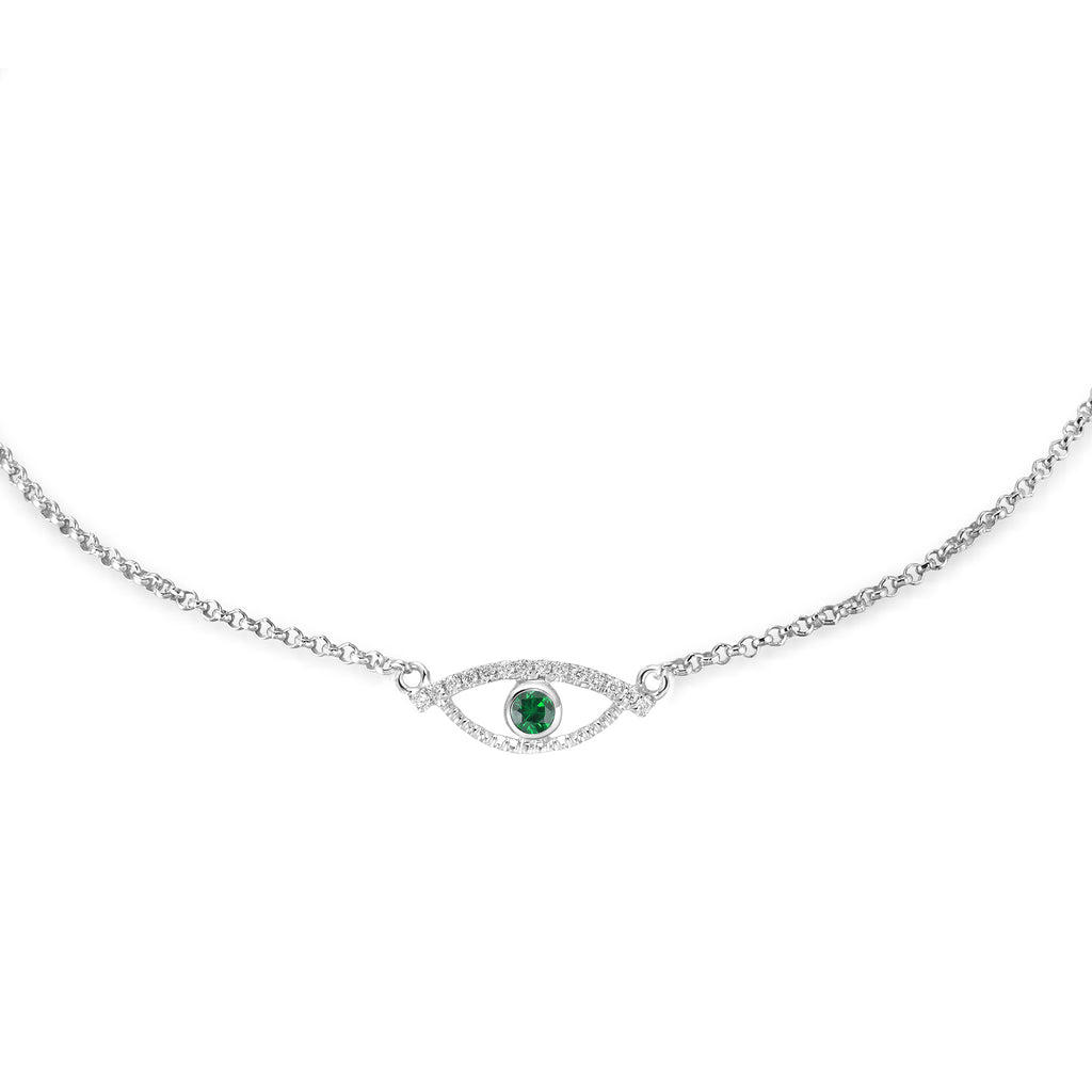 YOUNG BY DILYS' Celestial Eye Green Garnet Chain Bracelet with Diamond Trim in 18K White Gold