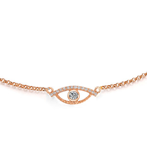 YOUNG BY DILYS' Celestial Eye White Diamond Chain Bracelet with Diamond Trim in 18K Rose Gold