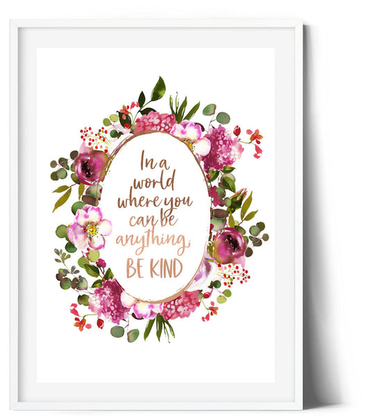 Oval Splendour Wreath Print - Be Kind