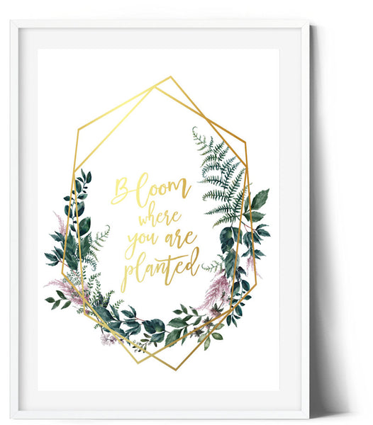 Fern & Flower Wreath Print - Bloom where you are planted
