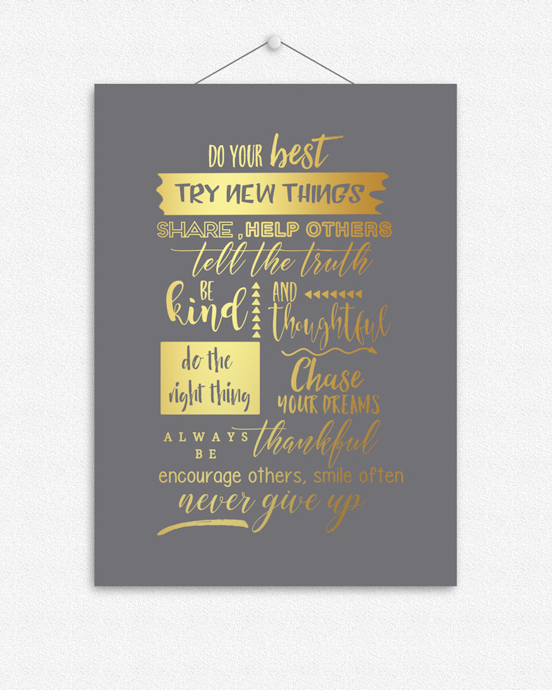 Never give up | Foil Print