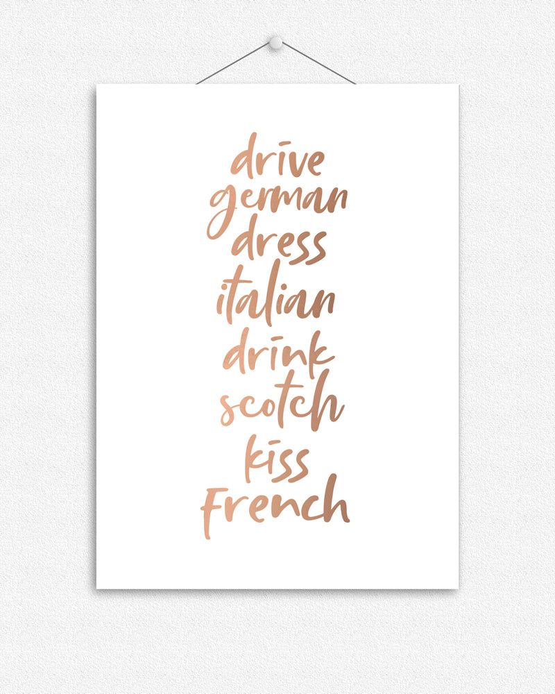 Kiss French | Typographic Foil Print
