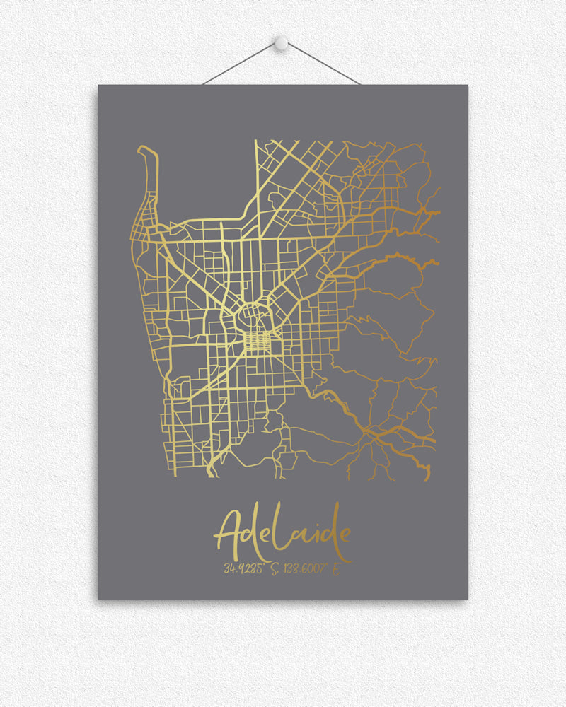 Map of Adelaide + Coordinates | Foil Print