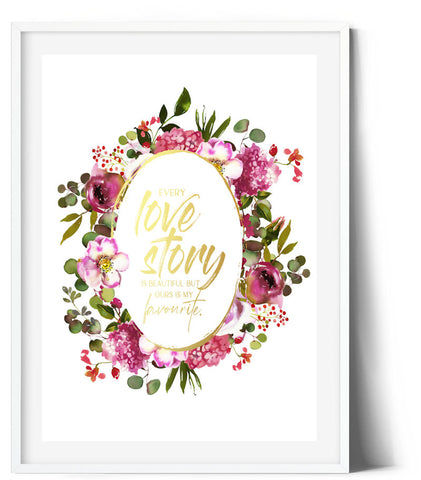 Oval Splendour Wreath Print - Our Love Story