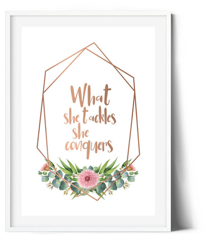 Spring Wreath Print - What she tackles she conquers