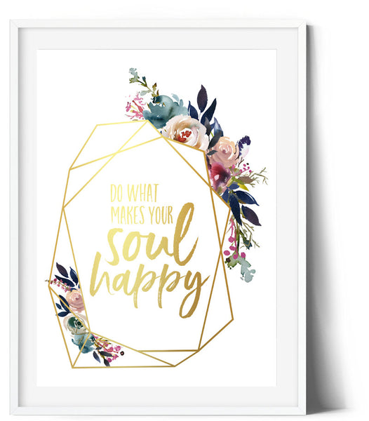 Dusky Rose Wreath Print - Do what makes you happy