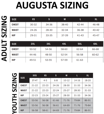 Augusta Youth and Adult Sizing