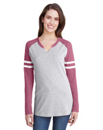 Load image into Gallery viewer, Ladies' Gameday Mash-Up Long Sleeve Fine Jersey T-Shirt