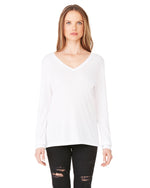 Load image into Gallery viewer, Ladies' Flowy Long-Sleeve V-Neck BellaCanvas