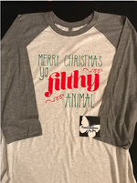 Load image into Gallery viewer, Merry Christmas Ya Filthy Animal Unisex Baseball/Raglan T-Shirt