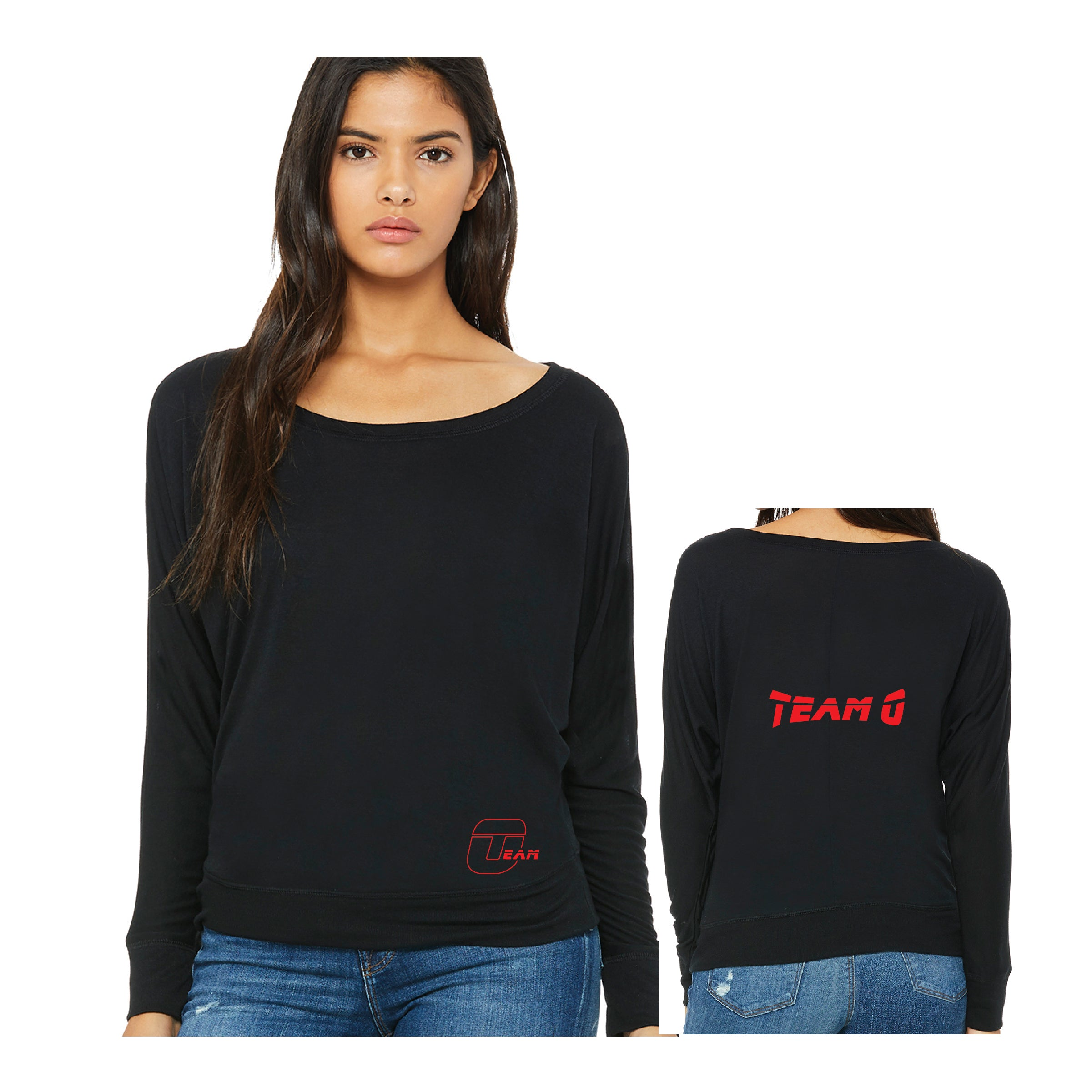 Team O Ladies' Flowy Long-Sleeve Off Shoulder T-Shirt