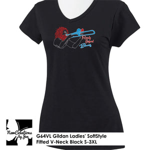 R.O.B. Gildan Ladies' SoftStyle Fitted V-Neck T-Shirt