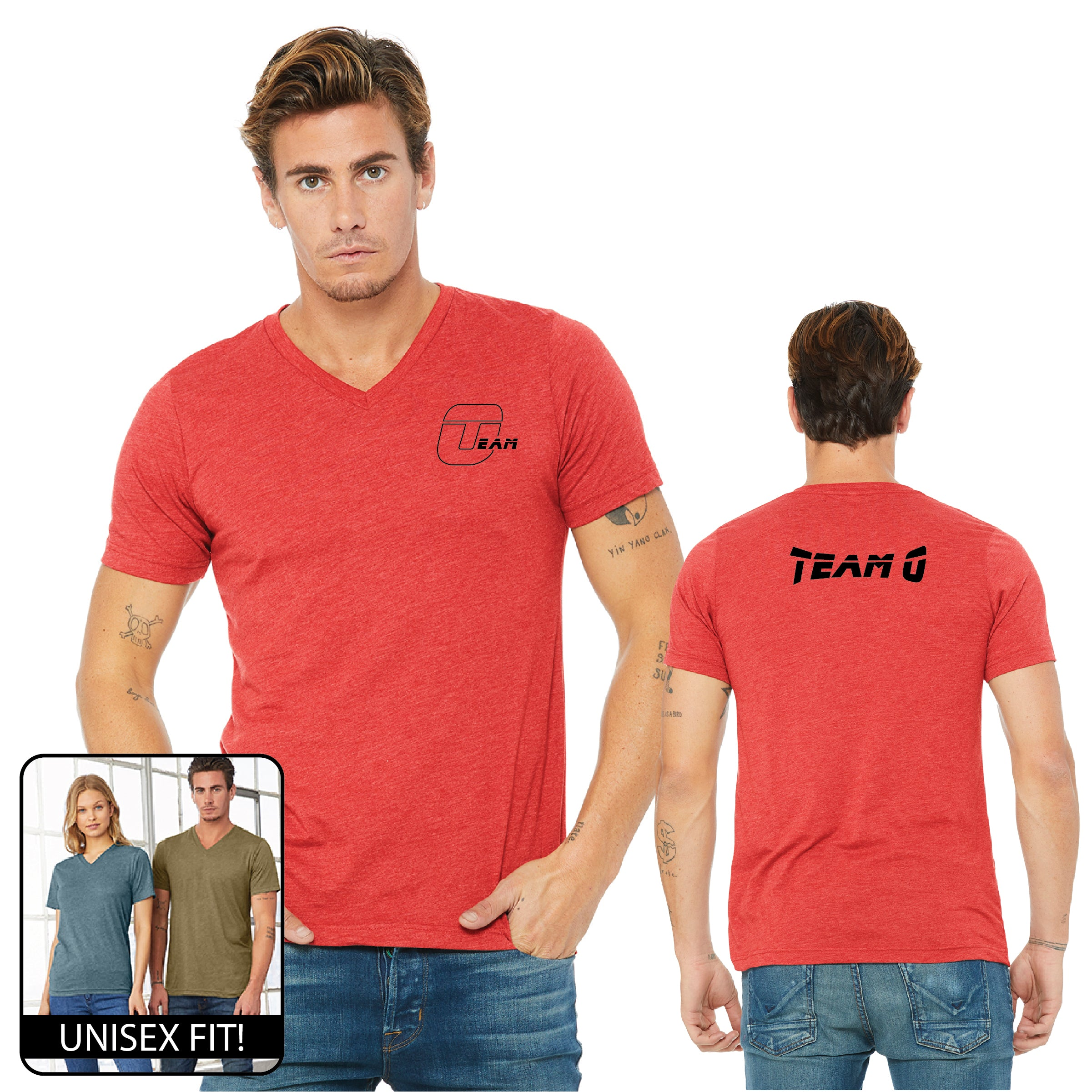 Team O BellaCanvas Unisex Triblend Short-Sleeve V-Neck T-Shirt