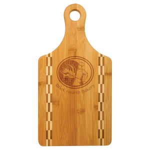 Natural Bamboo Cutting Board with Butcher Block Inlay
