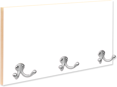 "16"" x 8"" Full Color Coat Hanger with 3 Silver Hooks"
