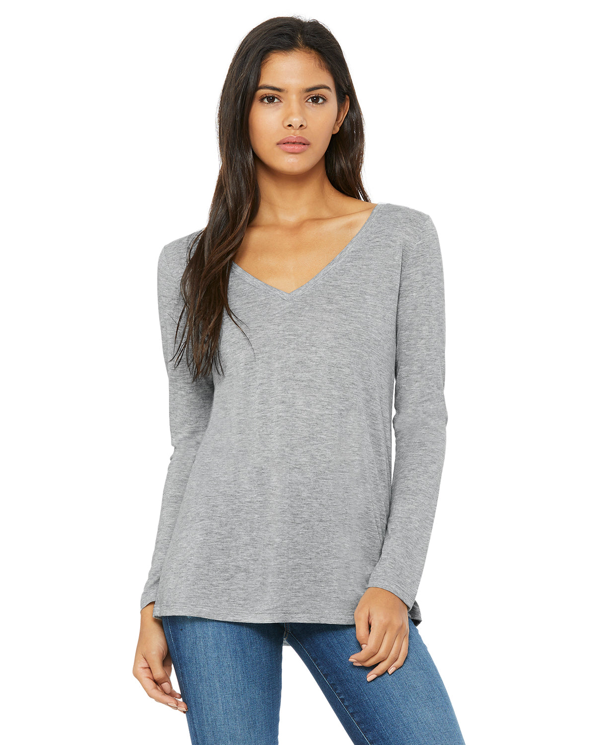 Ladies' Flowy Long-Sleeve V-Neck BellaCanvas