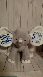 Load image into Gallery viewer, Plush Personalized Baby Elephant