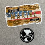 Load image into Gallery viewer, Proud Marine Mom Waterproof Sticker