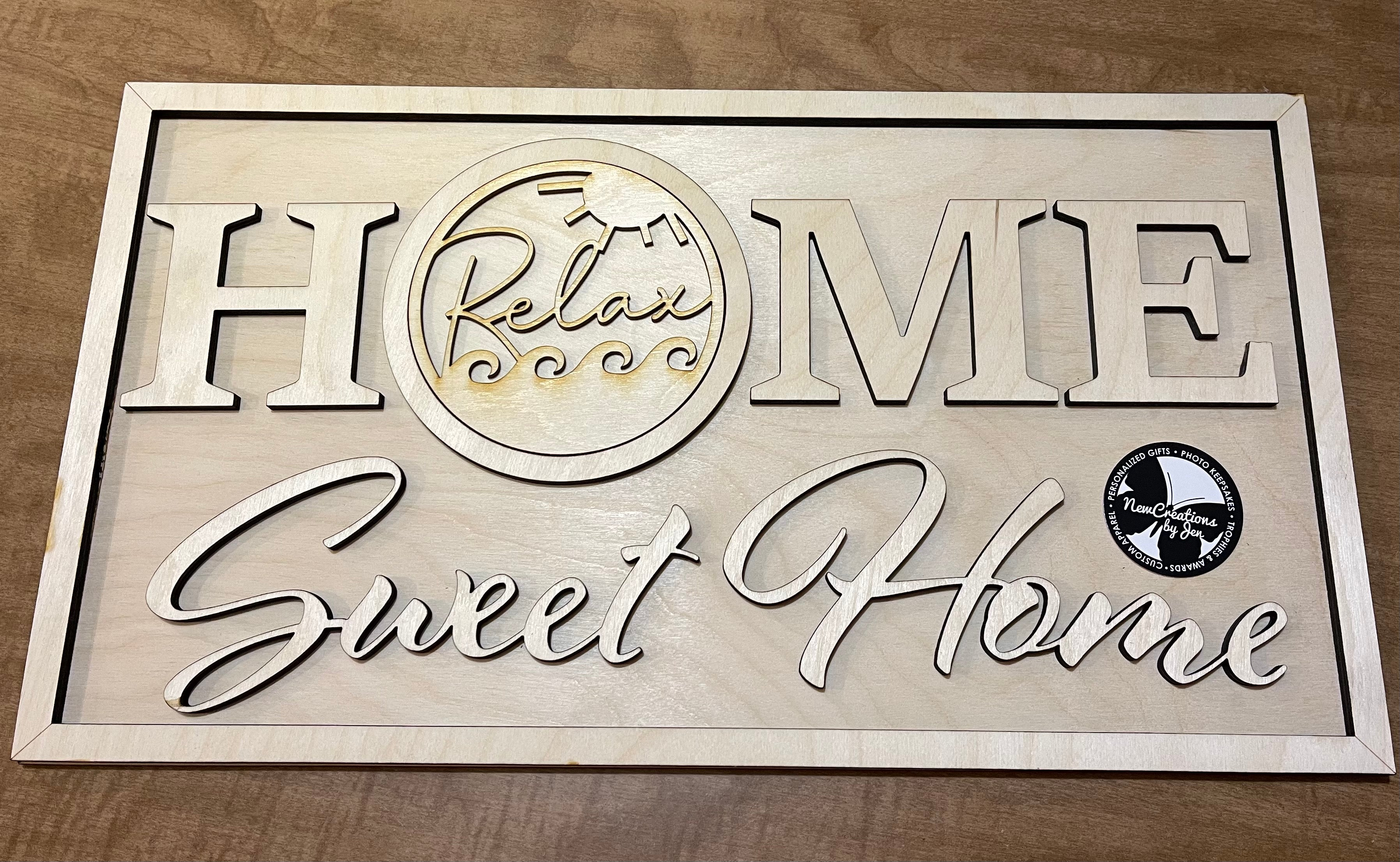 Home Sweet Home Rectangle Interchangeable Sign + One Insert - Ready to Paint