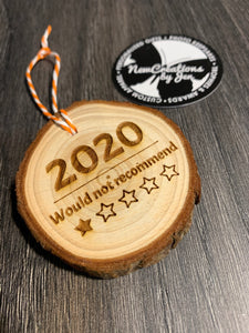 2020 Review Natural Wood Slice Ornament