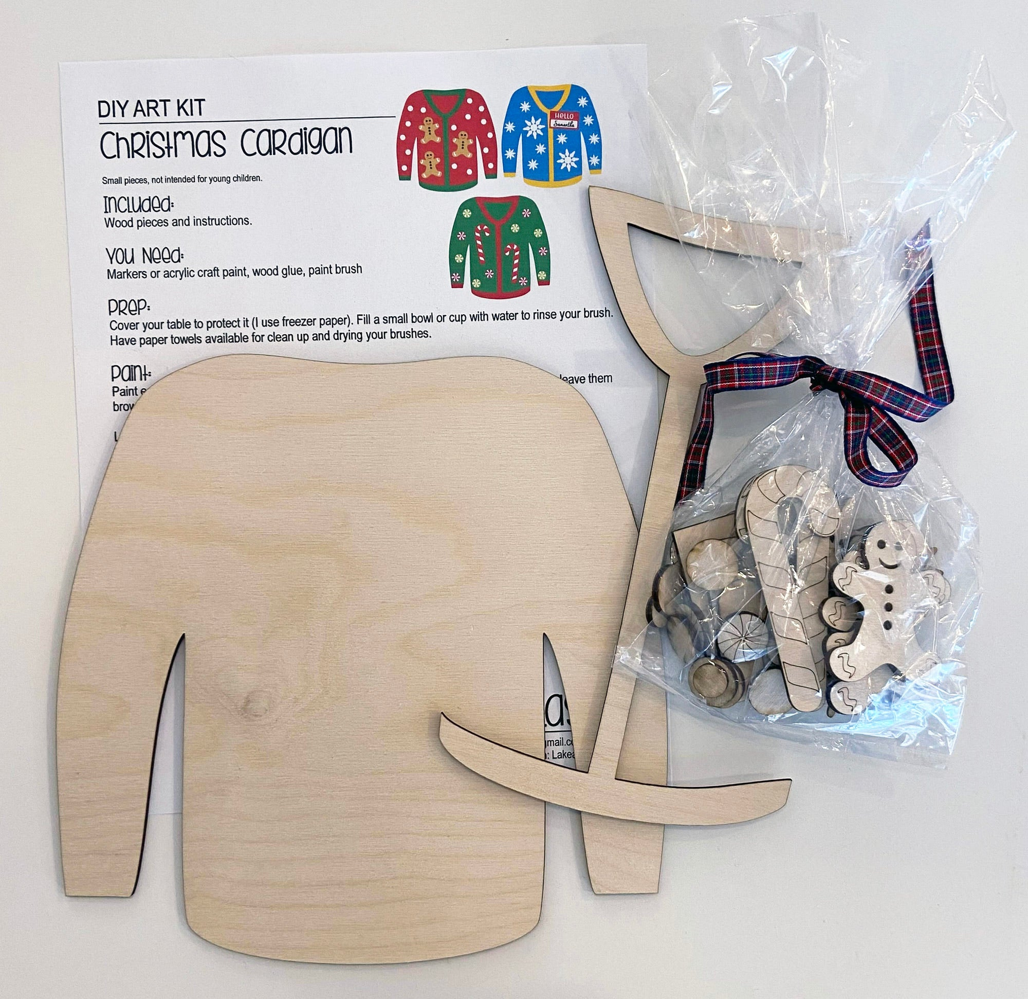 Cardigan Sweater - Ready to Paint Craft Kit