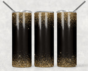 Confetti Gold with Black Body Print Stainless Steel Skinny Tumbler - 20oz