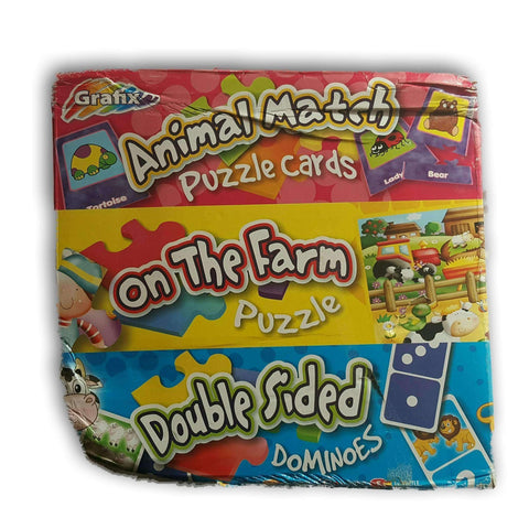 3 In 1 Mega Pack - Animal Match Puzzle Cards, On The Farm Puzzle, Double Sided Dominoes