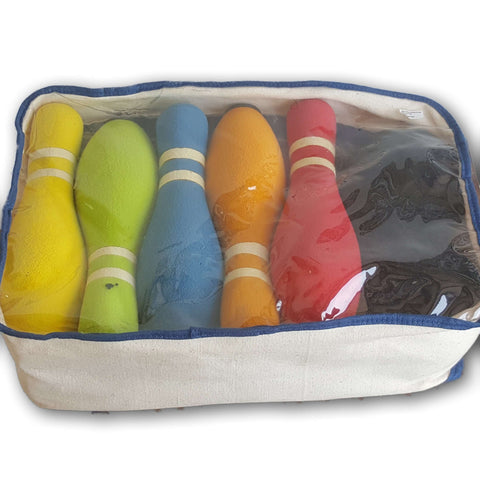 Large fabric covered bowling set